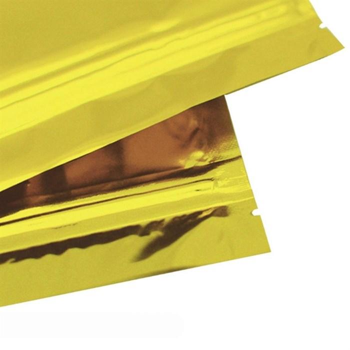 Дой-пакет 105х150 мм золотой металлизированный с zip-lock - фото 4752