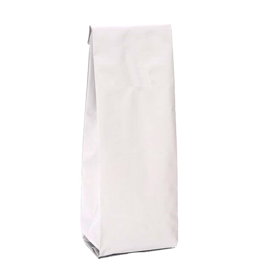 Белый глянцевый пакет 85*60*270 мм с центральным швом и боковыми фальцами - фото 5325