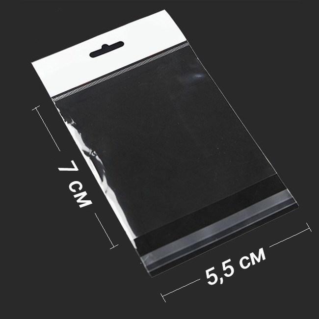 БОПП-пакет 5.5*7 см с европодвесом и клапаном - фото 5844