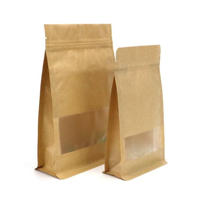 Восьмишовный бумажный пакет с окном 135+65х225 мм с замком и плоским дном - фото 6191