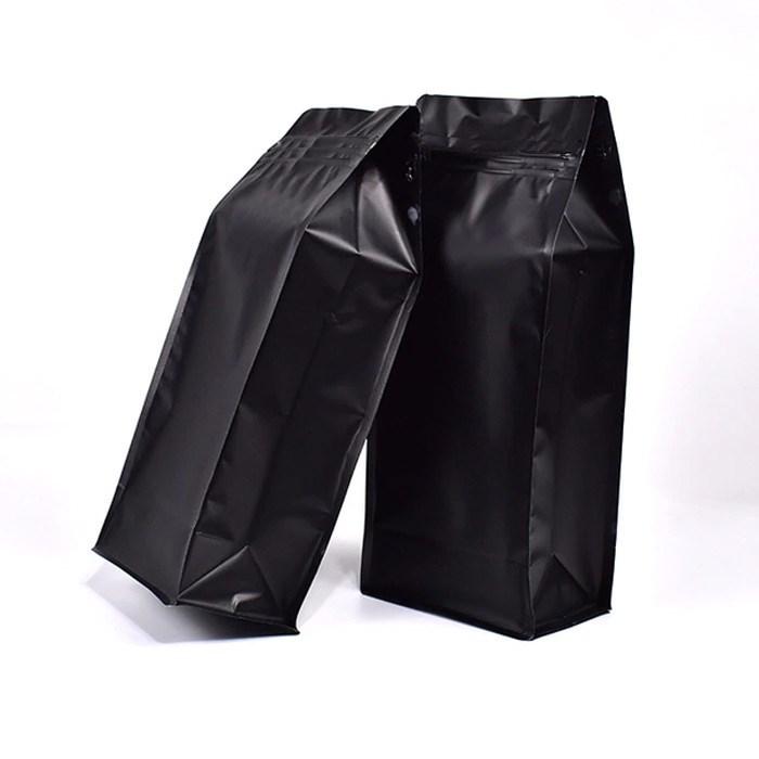 Восьмишовный пакет черный 135+65х205 мм с замком и плоским дном - фото 6196