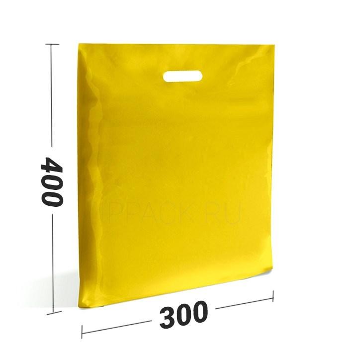 ЖЕЛТЫЕ ПОЛИЭТИЛЕНОВЫЕ ПАКЕТЫ С РУЧКОЙ 300*400 мм / 70 мк - фото 6519