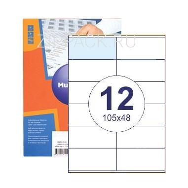 Этикетки самоклеящиеся 12 шт на листе А4 | 105х48 мм | 100 листов в упаковке - фото 6641