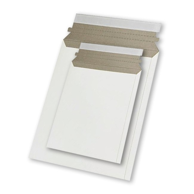 Картонный пакет 215x270 мм | Белый картон 390г., отрывная лента - фото 7494