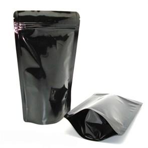Черный дой-пакет 150х240 мм с замком zip-lock глянцевый