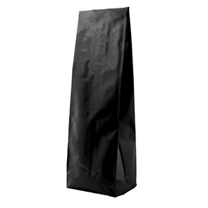 Пакет черный глянцевый 120*70*400 мм с центральным швом и боковыми фальцами
