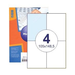 Этикетки самоклеящиеся 4 шт на листе А4 | 105х148 мм | 100 листов в упаковке