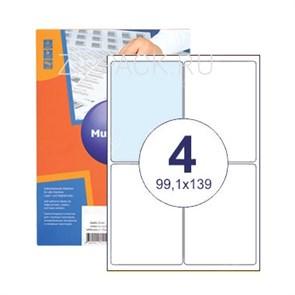 Этикетки самоклеящиеся 4 шт на листе А4 | 99,1х139 мм | 100 листов в упаковке
